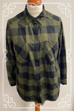 Groen met zwart geblokte blouse van H&M maat 44