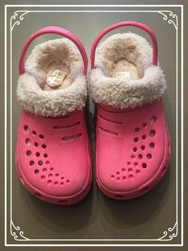 Roze stijl crocs met bont - maat 30-31