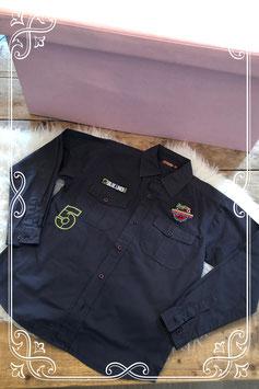 Grijze blouse met patches - Maat 134-140