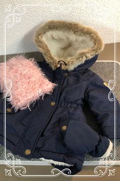 Donkerblauwe winterjas met roze colsjaal - maat 68