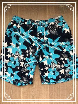 Blauwe zwembroek met blauw bloemmotief - Merk - Beach Wave - Maat - size S