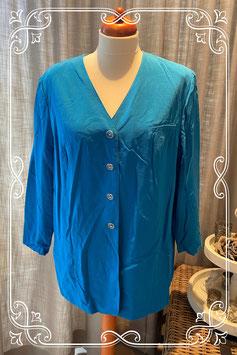 Een fel blauwe blazer blouse van barucci - maat 48