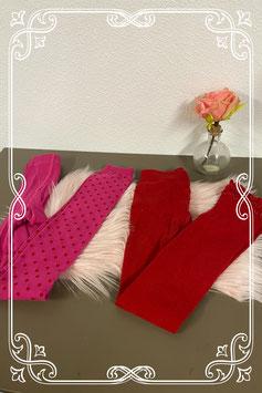Nieuw! Rode en roze maillot met open voet van Bonnie Doon en Hema maat 146/152 en 152/156