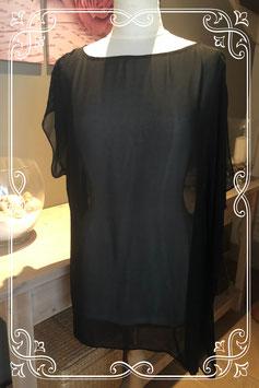 Doorschijnend zwart shirtje met pailletten van Ana Sousa - Maat XXL