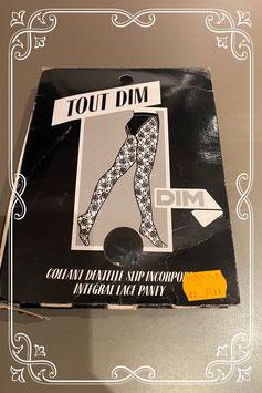 Nieuw: zwarte panty met verleidelijk bloemmotief en ingebreid broekje van Tout Dim Maat L