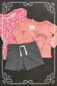 3-delig bestaande uit een grijs broekje met longsleeve en roze jurkje van Hema maat 86