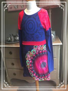 Nieuw: blauw-roze jurk van Desigual - maat 158-164
