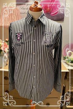 Mooie donkergrijze blouse met strepen van 64 Unblocked maat M