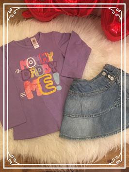 Paars shirt van baby club met spijkerrok van IKKS - Maat 92
