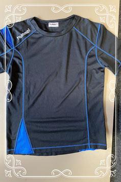 Zwart met blauw sportshirt van Hummel maat 140/152