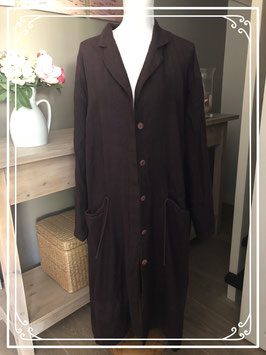 auberginekleurig lang vintage linnen vest-jas van het merk Frequence-maat 52-54