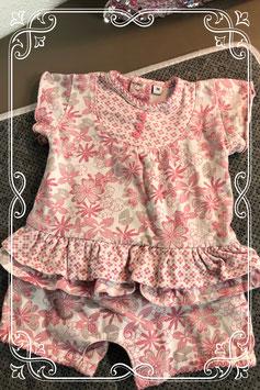 Wit met roze baby jumpsuit - maat 56