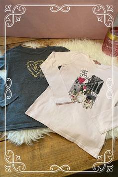 Grijs en roze shirt - Maat 140