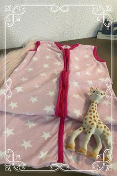 Roze trappelzak van Baby bodyware Maat 70