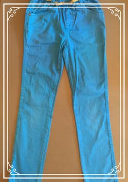 Blauwe lange broek met goudkleurige riempje - maat 128