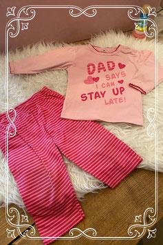 roze tweedelig pyjama setje - maat 80