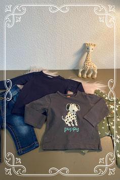 4-delig setje met broek van Prenatal met broek van Hema en 2 longsleeves van Hema maat 50/56