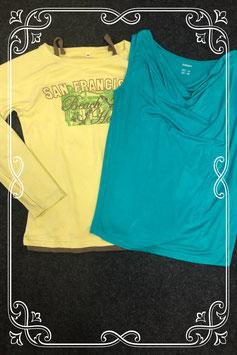 Blauw/groene top van Esmara maat S en groene longsleeve met bandjes in maat M