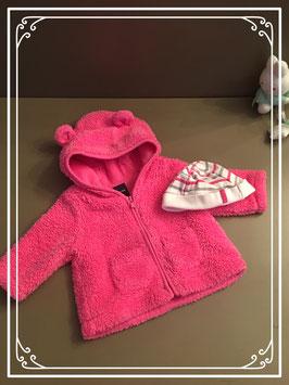 Roze jasje met capuchon en muts - Maat 50