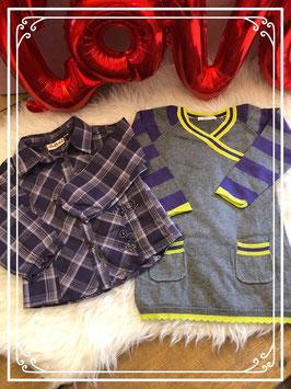 Geruite blouse van het merk Bakkaboe en grijs jurkje van de Hema maat - 86