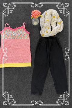 Zwarte legging met gekleurde top van Jubel maat 140 met bijpassend sjaaltje