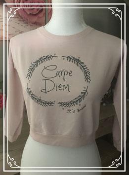 Lichtroze trui met tekst 'Carpe Diem' - Maat XS