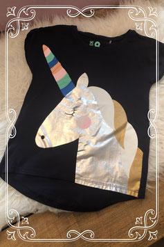 Zwart en zilver eenhoorn t-shirt van Cotton Kids - Maat 134-140