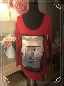 Rood lange mouwen shirt met print van Mama Licious - Maat L