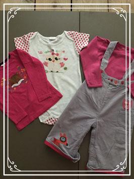 Tuinbroek met drie t-shirtjes - Maat 86