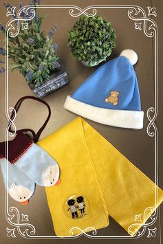 Muts - sjaal en wanten in vrolijke kleuren - voor 3-5 jaar