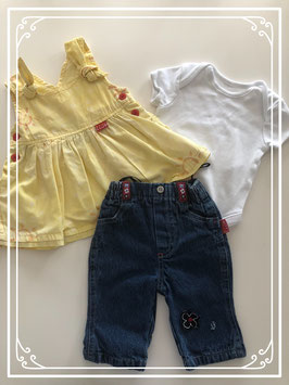 Gele jurk met spijkerbroek en romper - Maat 62