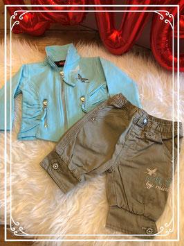 Lichtblauw vest met ritsjes en broekje kaki kleur van Mini-Dog - maat 62