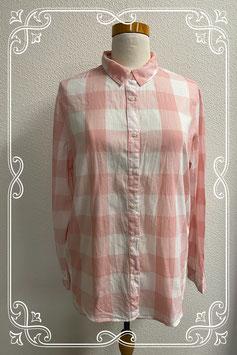 Roze wit geblokte blouse van H&M maat 40