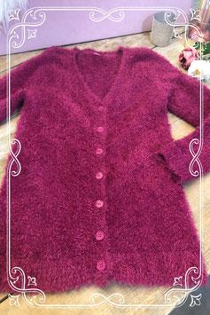 Fuchsia roze fluffy vest Maat - S