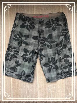 Grijze korte broek met donker grijze bloemen van het Merk - Kalamton - Maat S