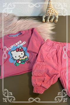 Leuk roze setje met een broekje en een longsleeve van Hello Kitty(C&A) - maat 50