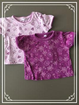 Set van 2 tshirts in de kleuren lila en paars - maat 56