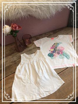 Wit hemd en wit T-shirt van ZARA en GIRLS - Maat 104