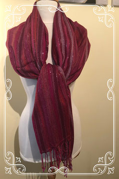Rood paarse sjaal met franjes