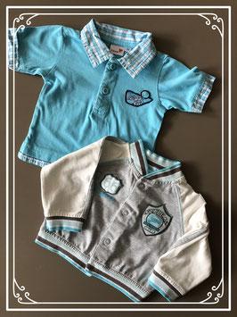 T-shirt met vest set blauw 2 STUKS - maat 56