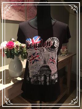 Zwart T-shirt met London details - Maat S