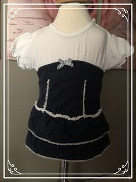 schattig jurkje wit-donkerblauw van feetje-maat 56
