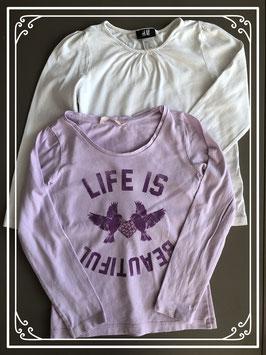 wit shirtje h&m en lila shirtje hema beide maatje 110-116