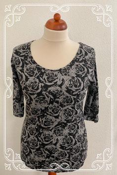 Zwart grijs gebloemd shirt van Gina Benotti maat XL