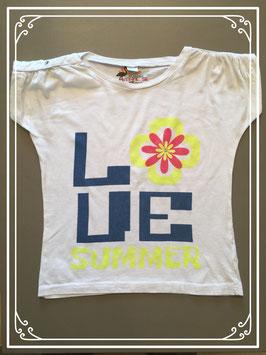 Wit T-shirt met LOVE opdruk - maat 134-140
