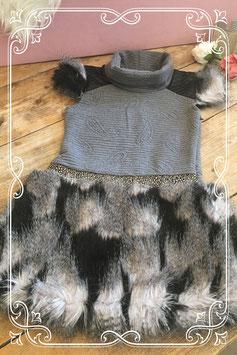 Grijs jurkje met nepbont van Môme Fashion - Maat 134