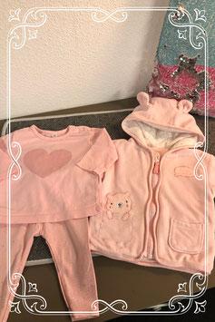 Driedelig poeder roze setje - maat 68