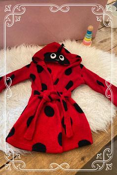 Rood met zwarte stippen badjasje - maat 74/80