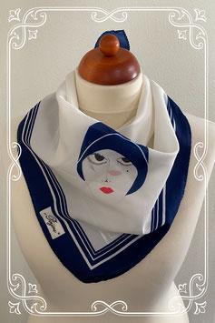 Blauw met wit sjaaltje met opdruk van Bijou - volwassenen