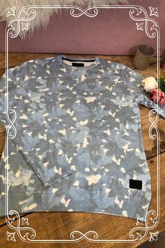 Lichtblauwe trui met witte vlekken - Merk - Rev -  Maat - S